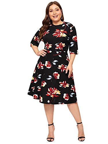 Romwe Women's Plus Size Elegant Floral Print Fit and Flare A Line Midi Dress Black 2X Plus