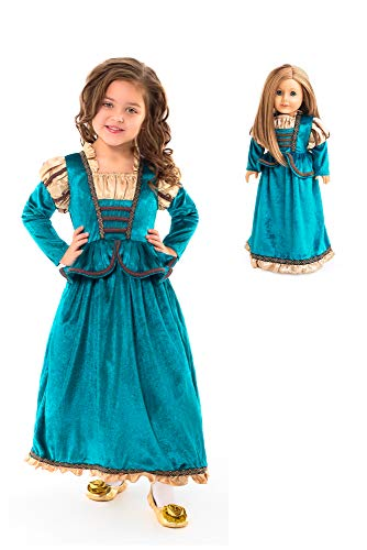 Little Adventures Scottish Princess Dress Up Costume & Matching Doll Dress (Medium (Age 3-5))