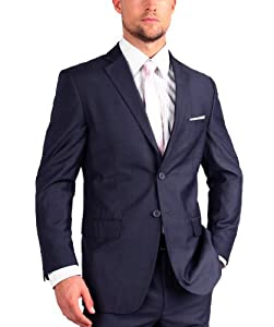 B00HV55DUE Fellini Uomo Mens Suit Modern Fit 36R Navy