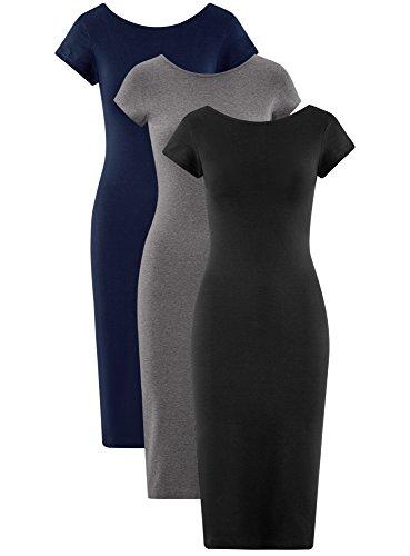 Multicolore 3 Collection Lot Mi de Robe sans Femme oodji 19epn tiquette Longue vHzx1SSwn