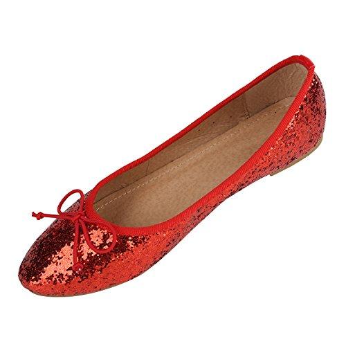 Stiefelparadies Klassische Damen Ballerinas Flats Leder-Optik Lack Metallic Schuhe Glitzer Slipper Slip Ons Übergrößen Abiball Flandell Rot Glitzer