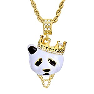 "Metaltree98 Hip Hop Rapper Rap Crown Panda Pendant 4 mm 24"" Rope Chain Necklace Set HC 1167 G"
