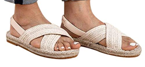 Band Straw - Women Flat Sandals Shoes Summer Straw Hemp Elastic Band Casual Shoes Beach Sandals by Gyouanime White