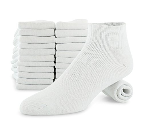 Men's 12-Pack Cotton White Ankle Athletic Sock Made For Top National Brand Shoe Size 8-12 Sock Size (Footwear Ankle Socks)