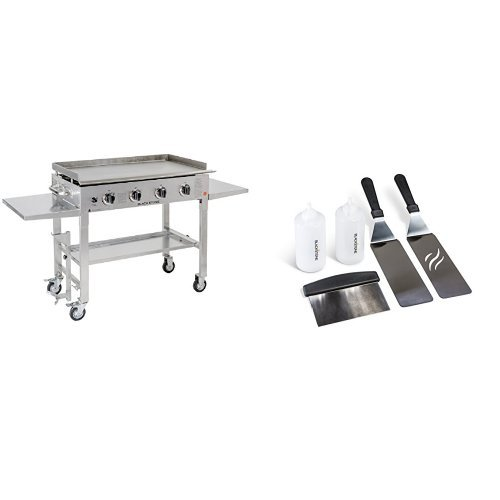Blackstone 36 inch Stainless Steel Outdoor Flat Top Gas Grill Griddle Station – 4-burner – Propane Fueled – Restaurant Grade – Professional Quality with Griddle Tool Kit