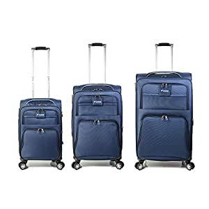 Set of 3 Trolley Bag with 4 wheel system - Blue - Model: K89