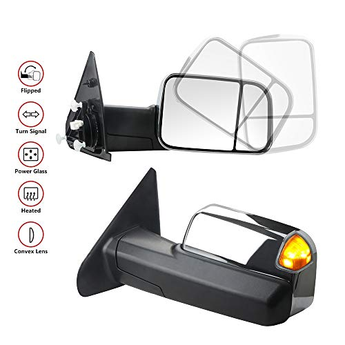 MOSTPLUS New Chrome Housing Power Heated Towing Mirrors for 02-09 Ram Flip Up Left Right Pair w/Turn Signal Light (Set of 2)