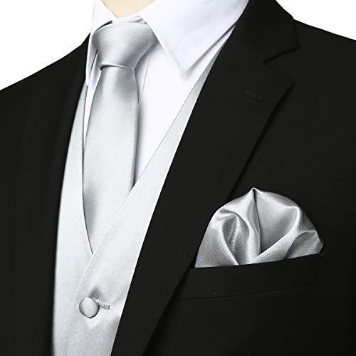 (ZEROYAA Men's Solid 4pc Shiny Satin Vest Necktie Bowtie Pocket Square Set for Suit or Tuxedo ZLSV12 Silver XX-Large)