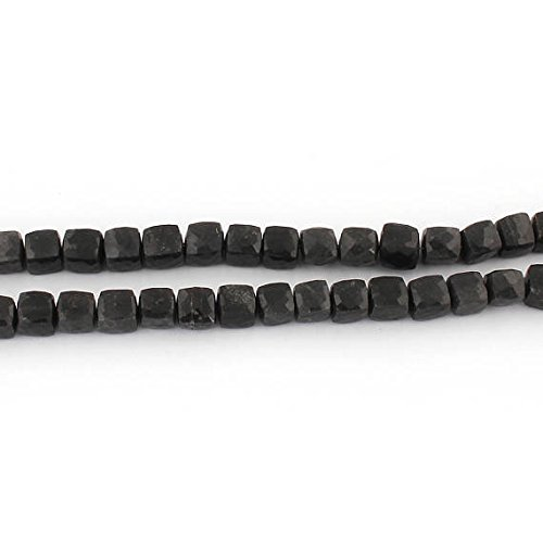 2 Strand Natural Black Agate Faceted Cube Briolettes -Box Shape Beads 9mm-10mm 8 Inches