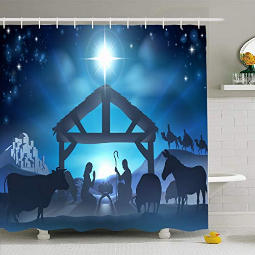 Ahawoso Shower Curtain for Bathroom 60x72 Blue Traditional Story Birth Silhouette Christmas Scene Baby Holidays Manger Star Stable City Born Waterproof Polyester Fabric Bath Decor Set with Hooks