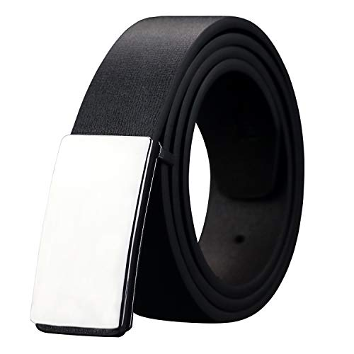 Black Leather Plaque Buckle Belt - Mens Dress Leather Belt Plaque Buckle 35mm Width