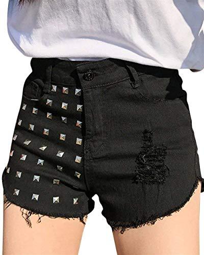Remachados Mezclilla Botón Schwarz Delanteros Pantalones Libre Cortos Boxershort Battercake Bolsillos Casuales Aire Mujeres Para Cintura Alta Al De CqU4WXw