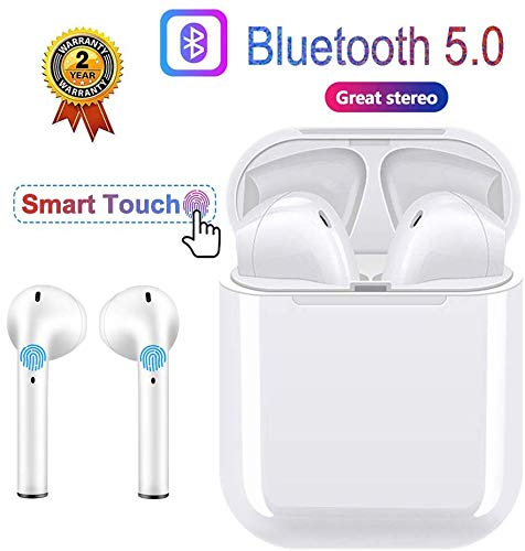 Wireless Earbuds Bluetooth Headphones 5.0 HD Stereo Headset Sports Waterproof Built in Noise Reduction Microphone with Fast Charging Case Compatible with All Smartphone