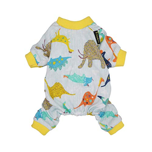 Fitwarm 100% Cotton Dinosaur Pet Clothes Dog Pajamas Cat Jumpsuits Onesies Outfits