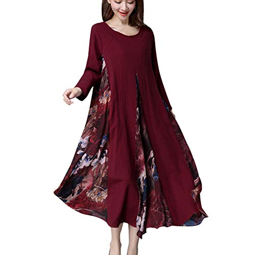 Cotton Armoire (kaifongfu Women Long Dress with Cotton Linen Floral Retro Ladies Long Dress(Wine,XXL))