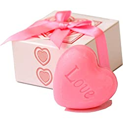 AiXiAng Cute Mini 24 Pieces Handmade Scented Soap Guests Keepsake Gift for Wedding Gift Baby Shower Favors, Parties, Thanksgiving Gifts (Pink Heart Mini Soap)