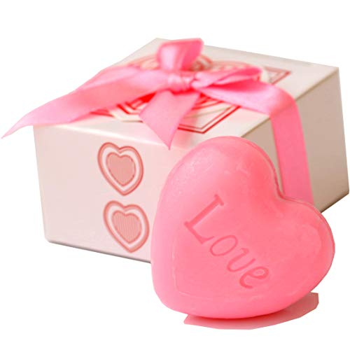 AiXiAng® Cute Mini 24 Pieces Handmade Scented Soap Guests Keepsake Gift for Wedding Gift Baby Shower Favors, Parties, Thanksgiving Gifts (Pink Heart Mini Soap)