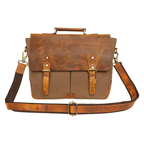 15 Inch Rustic Town Handmade Leather Canvas Vintage Crossbody Messenger Bag Gift Men Women Travel Work ~ Carry Laptop Computer Books ~ Sling Shoulder Bag ~ Everyday Office College School Satchel