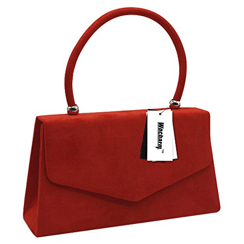 Girls Clutch Bags Women Handheld Leather Suede Evening Wocharm Red Handbags Ladies Faux TfqOqwg