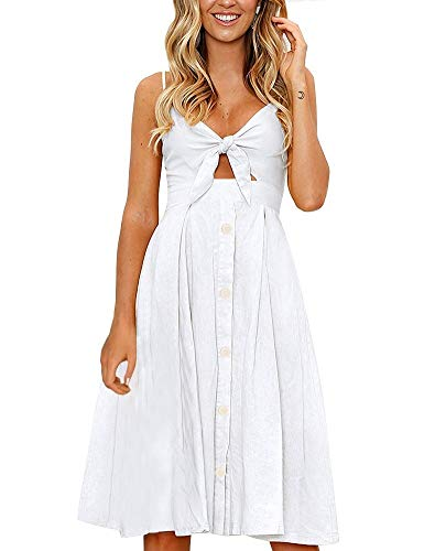 FANCYINN Womens White Tie Front Button Down Spaghetti Strap Midi Dress White S