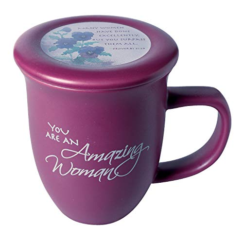 Amazing Woman Mug And Coaster/Lid - Ceramic - Large 14 Ounce Coffee Or Tea Cup - Dusky Purple