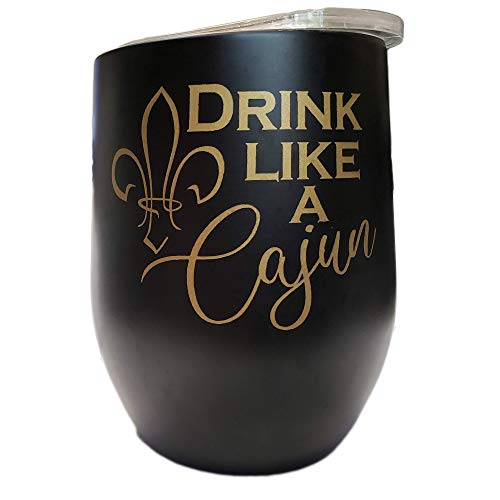 - Drink Like a Cajun Black and Gold Vacuum Sealed Stainless Steel Wine Tumbler Thermos