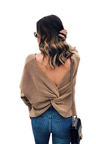 V Neck Women Sweaters Batwing Long Sleeve Backless Criss Cross Pullovers Twisted Back Jumpers Yellow