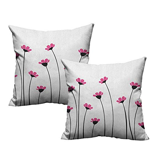 RuppertTextile Breathable Pillowcase Garden Pink Daisy Blossoms Flowery Field Meadow Inspired Romantic Scenic Nature Print Protect The Waist W18 xL18 2 pcs