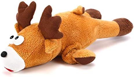 犬のホリデーギフト 玩具犬、かわいいぬいぐるみトナカイエルク犬のおもちゃ、インタラクティブクリーニング歯解凍エンターテイメントのためのきしむ犬のおもちゃをかみます トラブルと喜びを減らす (Color : Multicolor, Size : M)