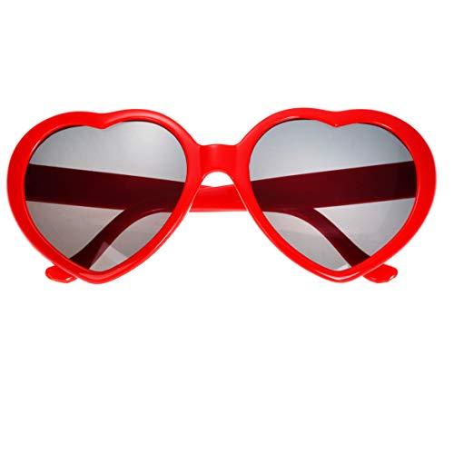 - Fashion Large Women Lady Girl Oversized Heart Shaped Retro Sunglasses Cute Love Eyewear (Red)