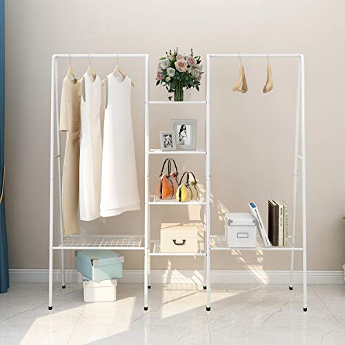 DUMEE Garment Rank Metal Clothes Ranks with 4-Tiers, 6 Shelf Shoe Rack, 2 top crossbars Overhead Bar for Hanging Clothes Coat Hat Rack and Storage Easy to Assemble White