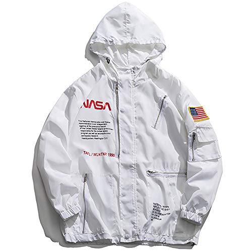 Wildswan MA-1 NASA Military Flight Hooded Jacket Biker Zipper Coaches Hooded Jacket Coat Autumn Winter B4050B-M White