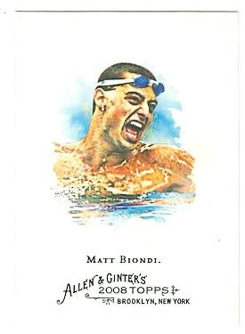 Matt Biondi trading card (USA Olympic Swimmer) 2008 Topps Allen and Ginters #107 Olympic Swimmer (And Cards Allen Ginter)