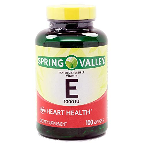 Spring Valley – Vitamin E Water Soluble 1000 IU, 100 Softgels (packaging may vary)