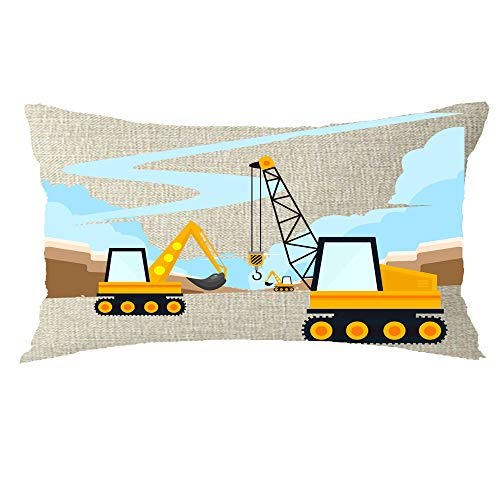 GAWEKIQE Tractors Trucks Excavator Engineering Cotton Linen Throw Pillow Cover Cushion Case Holiday Decorative 12
