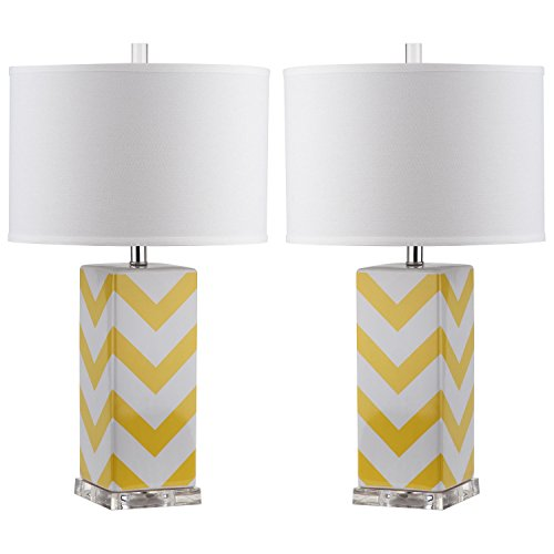 Safavieh Lighting Collection Chevron Stripe Yellow 27-inch Table Lamp (Set of (Lamp Stripes Table Lamp)