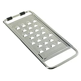 Browne 11-1/2-Inch Extra Coarse Grater 1 Durable kitchen grater; ideal for hard cheeses and vegetables 18/10 stainless steel; heavy-gauge wire frame Extra-coarse grating surface with 1/2-inch blades