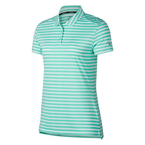 Nike Dri Fit Shortsleeves Stripe Golf Polo 2018 Women Green Glow/White/Flat Silver - Womens Green Nike