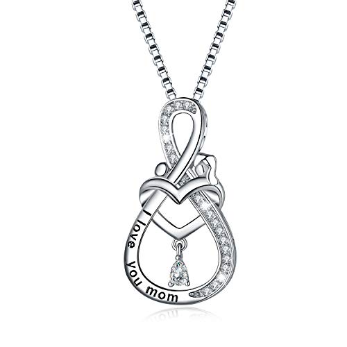 Mom Necklace, Mom Birthday Gifts, 925 Sterling Silver Necklace for Mom Love Heart Infinity Mother Necklace Pendant Jewelry for mom from Daughter or Son