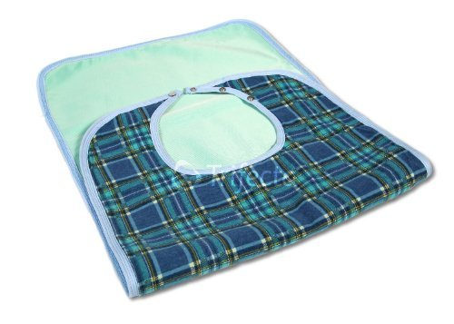 Large Extra Long, Washable Clothing Spill, Mealtime Protector, Waterproof Ladies & Men Adult Sized Bib 18x36 Green (Pk/2)
