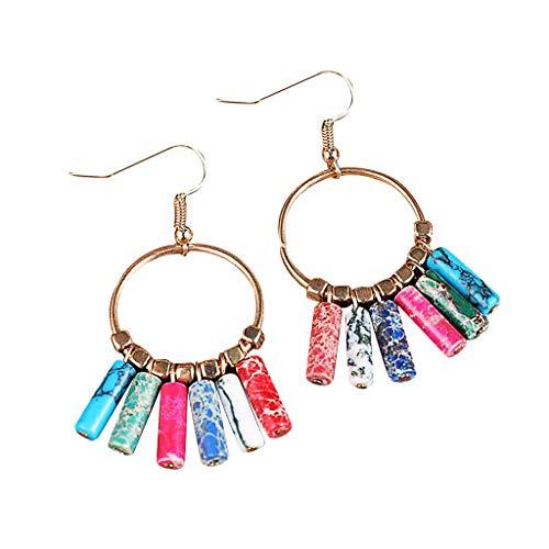(Sacow Women Earrings, Geometric Polygonal Natural Stone Pillar Pendant Earrings Ladies Jewelry Gift (A))