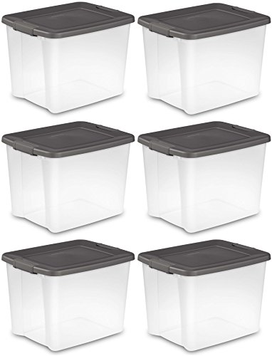 Sterilite 19373V06 50 Quart / 47 Liter Shelf Tote, Clear Base with Flat Gray Lid and Latches, 6-Pack ()