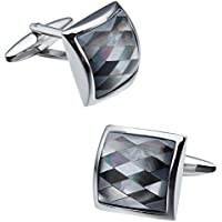 HAWSON Mother of Pearl Cufflinks for Mens Shirt French Cuff - Wedding Business Gift for Him