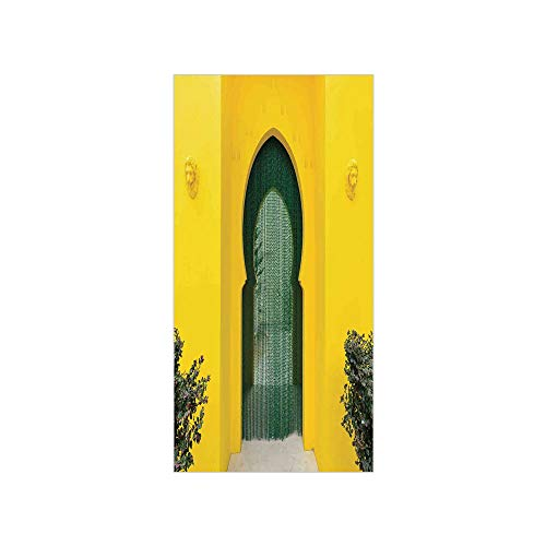 3D Decorative Film Privacy Window Film No Glue,Arabian,Morroccan Oriental Walkway Old Eastern Building Architecture Stone Carving Photo,Green Yellow,for - Carving Ganesh