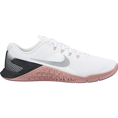 Nike Women Metcon 4 Scarpa Allenamento Bianco Bianco / Argento Metallizzato-m