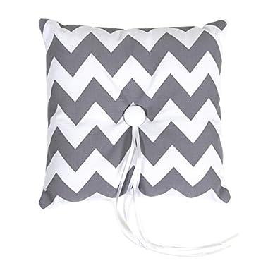 Koyal Wholesale Chevron Ring Bearer Pillow, 7-Inch, Gray