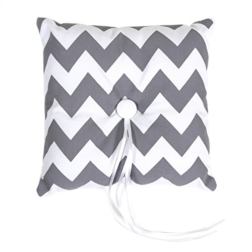 Koyal Wholesale Chevron Ring Bearer Pillow, 7-Inch, Gray