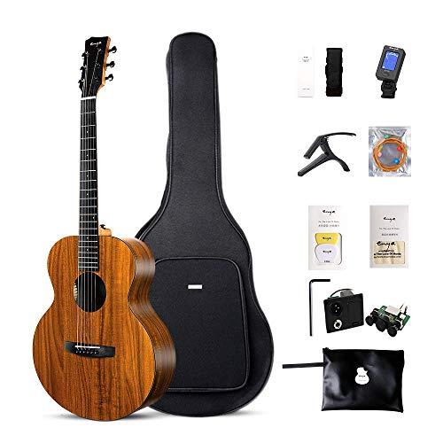 (Enya EM-X1 EQ Acoustic-Electric Guitar 36 Inch D'Addario Strings HPL Amplifier Travel Guitar Beginner Bundle with free padded Gig bag, Strap, Tuner, Picks, Capo)