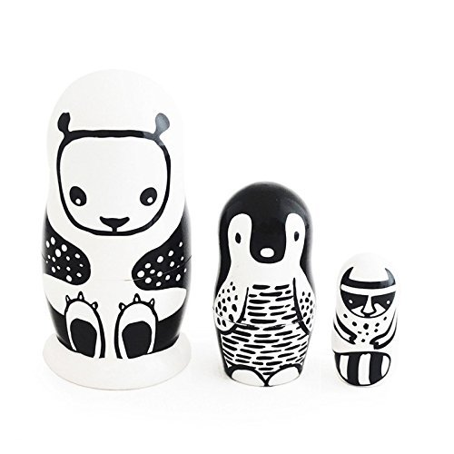 Wee Gallery, Set of 3 Nesting Dolls, Handmade Wooden Nesting Doll Set - Black and White Animals by Wee Gallery