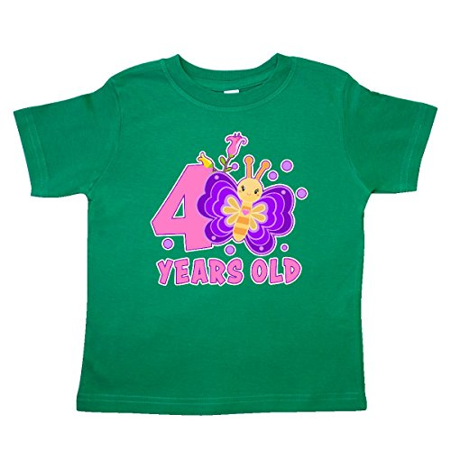 inktastic - 4 Years Old with Butterfly and Toddler T-Shirt 4T Kelly Green 30de1